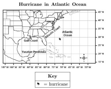 19. The following map shows the location of a hurricane in the Gulf of Mexico at 17 N, 81 W. Which of these describes the likely outcome for this hurricane? a. The rotation of Earth will force the hurricane to the southeast, where it will make landfall.