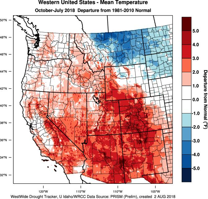 The record warmth seen in July across much of the west continues to keep the western US largely warmer than average for the water year with the Four Corners the warmest region (Figure 2).