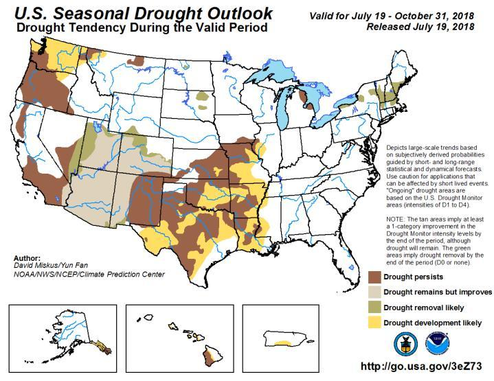 While the general pattern of drought in the US over the last month has not changed much, some notable shifts are contributing to the longer term outlook.