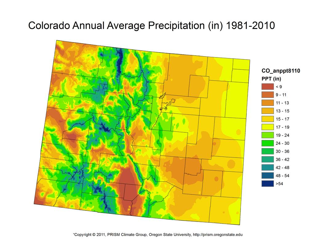 Show Colorado PRISM map