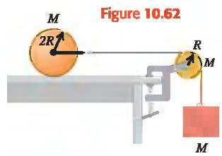 The string runs over a disk-shaped pulley with mass M and radius R that is mounted on a frictionless axle through its center. A block of mass M is suspended from the free end of the string (Fig. 10.