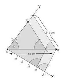 (3) With centre B and radius 5.1 cm, draw an arc which intersects line AY at point C. (4) Join BC.