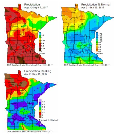 Wet and dry conditions Precipitation deficits in northwest Dry