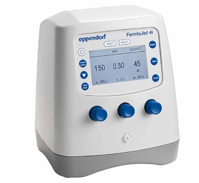 290 291 Cell Handling Cell Handling FemtoJet 4i and FemtoJet 4x FemtoJet 4i MICROINJECTORS Eppendorf s electronic microinjectors FemtoJet 4i and FemtoJet 4x with their simple operation menu and a