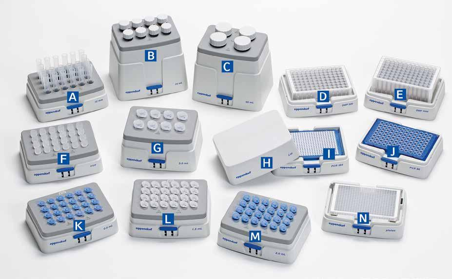 MIXERS AND HEATERS Product features > > Heating and active cooling in all common vessel and plate formats from 5 µl to 50 ml for high flexibility > > Broad range of Eppendorf SmartBlocks enables high