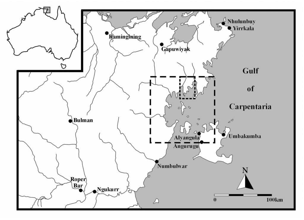 Figure Location of Blue Mud Bay (large square) and the archaeological study area (small square) (redrawn from Haines et al. 999:2).