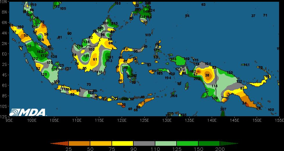 Indonesia 17/18 Production Estimate: 40.57 MMT PAST WEATHER: Rains favored central and southern Sumatra, northern Malay Peninsula, Kalimantan, and East Malaysia this past week. Amounts were 0.25 to 1.