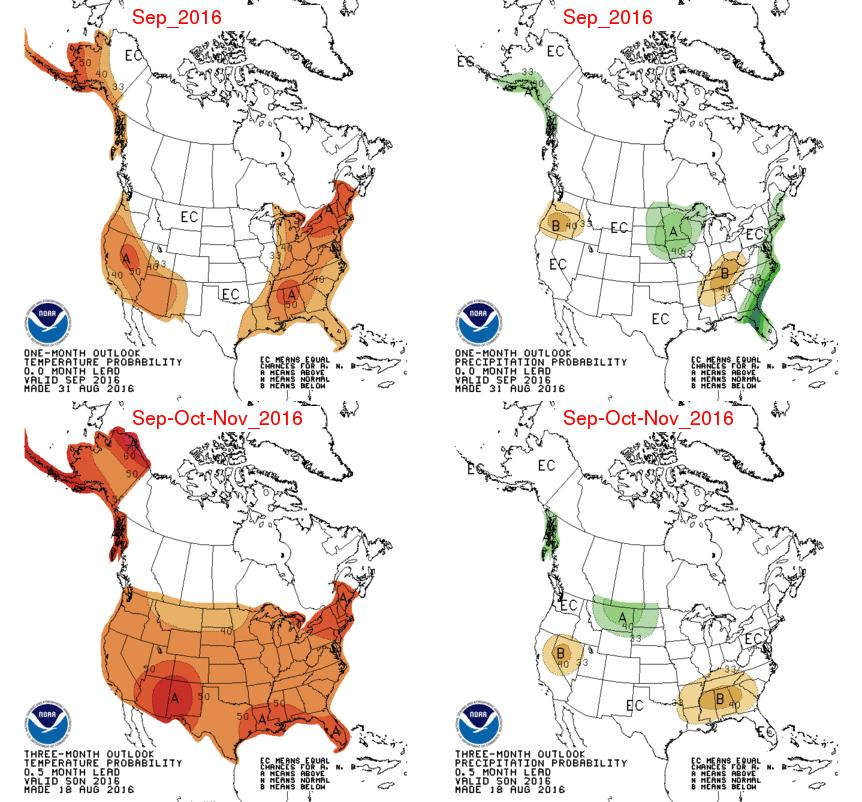 Appendix Figure 2 Temperature (left panel) and precipitation (right panel) outlooks for the month of