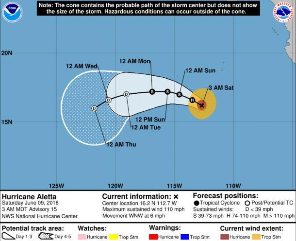 Tropical Outlook Eastern Pacific Hurricane Aletta (Advisory #15 as of 5:00 a.m.