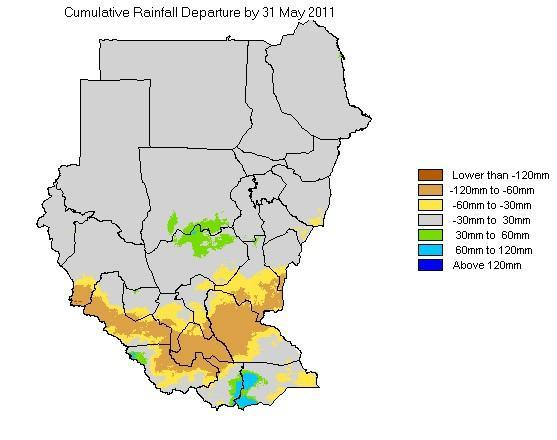 a b c d e f Fig 2:a Rainfall amounts in May 2011, b Rainfall in 21-30 MAY2011,c Total rainfall from early March late May as a percentage of the average, d-