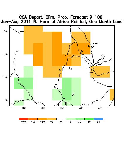 Green to blue indicate areas of increasingly more likely above average conditions (source: IRI).
