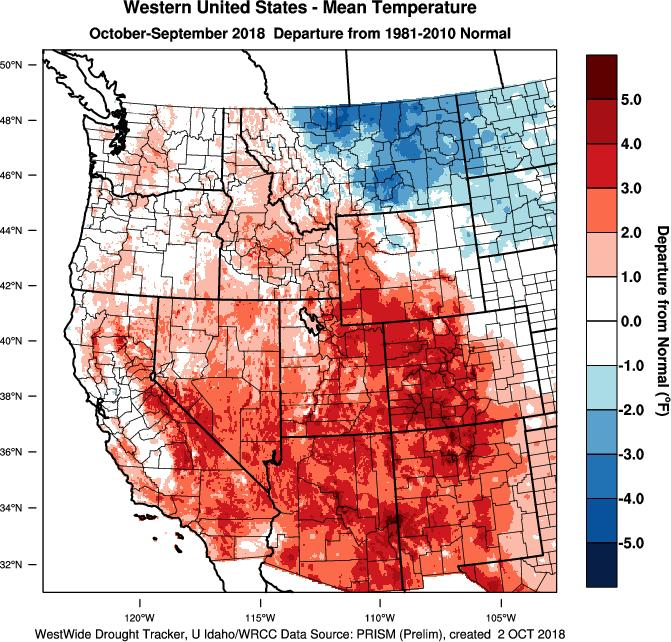 Closing the book on the water year we can see from Figure 2 that the western US ended up mostly warmer than normal with the exceptions being a significant amount of Washington, portions of Oregon,