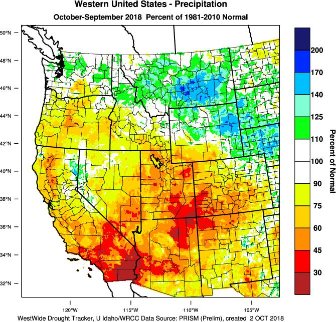 Eastern Montana across the Plains eastward to the northern Great lakes ended up cooler than normal for the water year, while the bulk of the rest of the country was between 1-2 F warmer than average