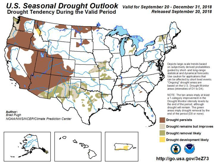 The US Drought Monitor continues to show that the US drought footprint is at near record levels with the main areas of severe to extreme drought over the Four Corners region and the desert southwest