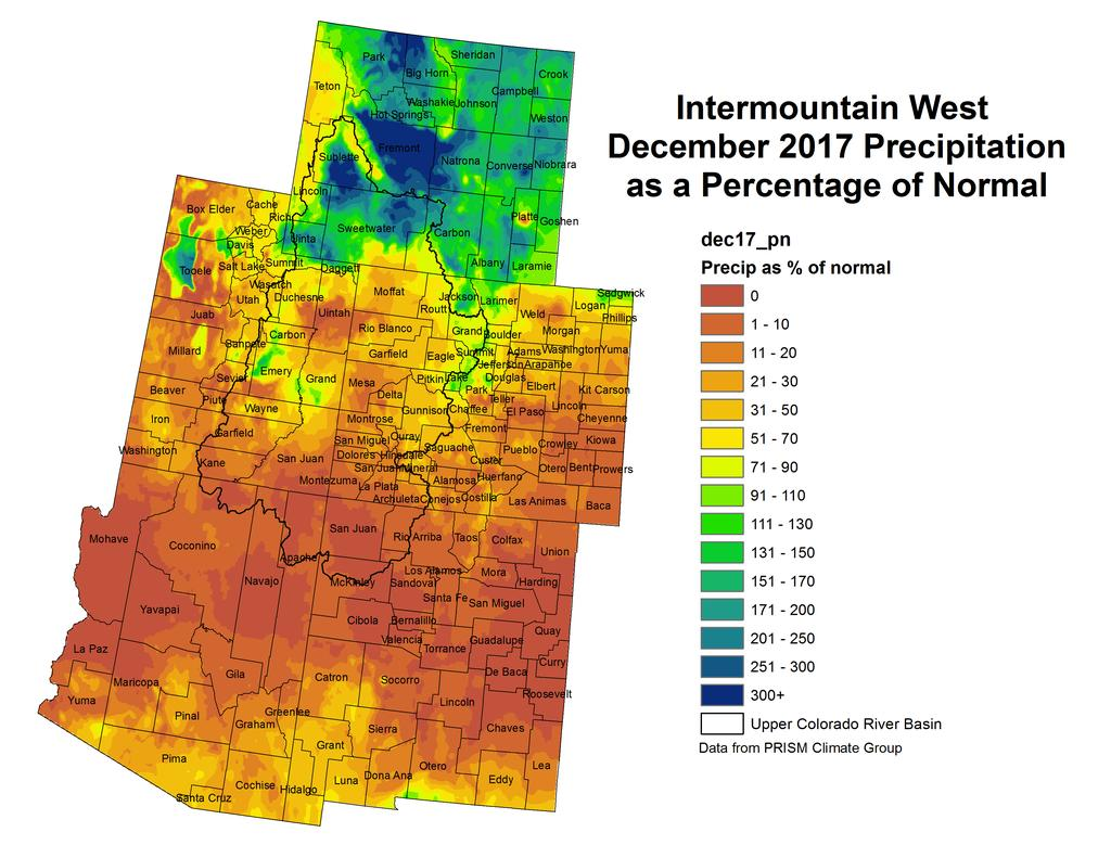 NIDIS Drought and Water Assessment NIDIS Intermountain West Drought Early Warning System January 16, 2018 Precipitation The images above use daily precipitation statistics from NWS COOP, CoCoRaHS,