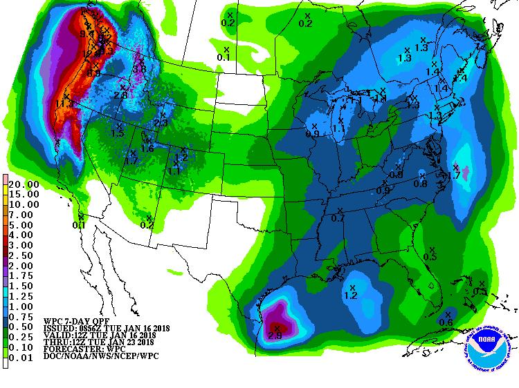 The top two images show Climate Prediction Center's Precipitation and