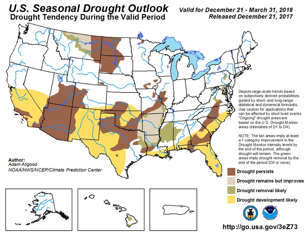 The bottom left image shows the 3-month precipitation outlook from Climate