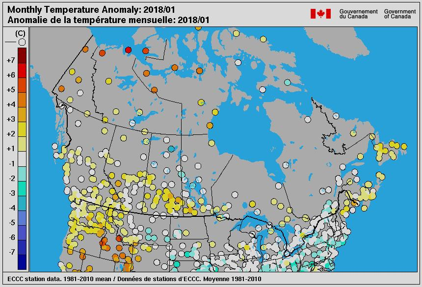 Monthly Temperature anomalies,