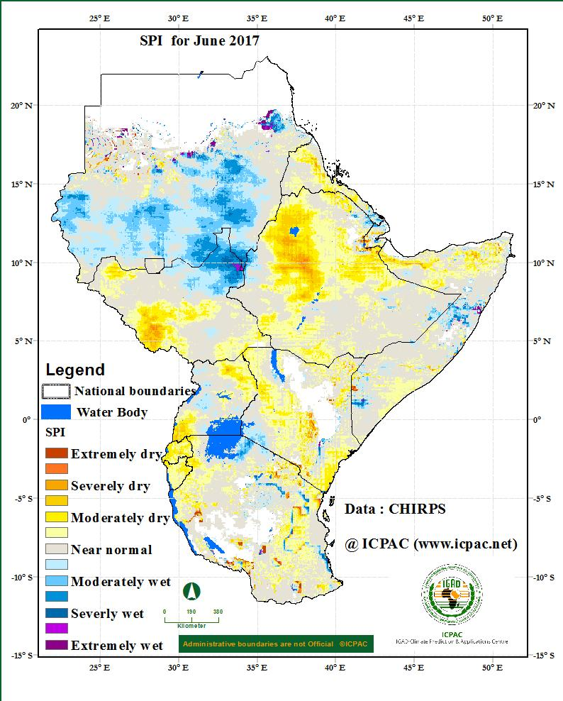 Areas covering much of northern and central Eritrea, northern and central Ethiopia, northern and southeast of Somalia, western and southeast South Sudan, northeast and southwest of Uganda, over much