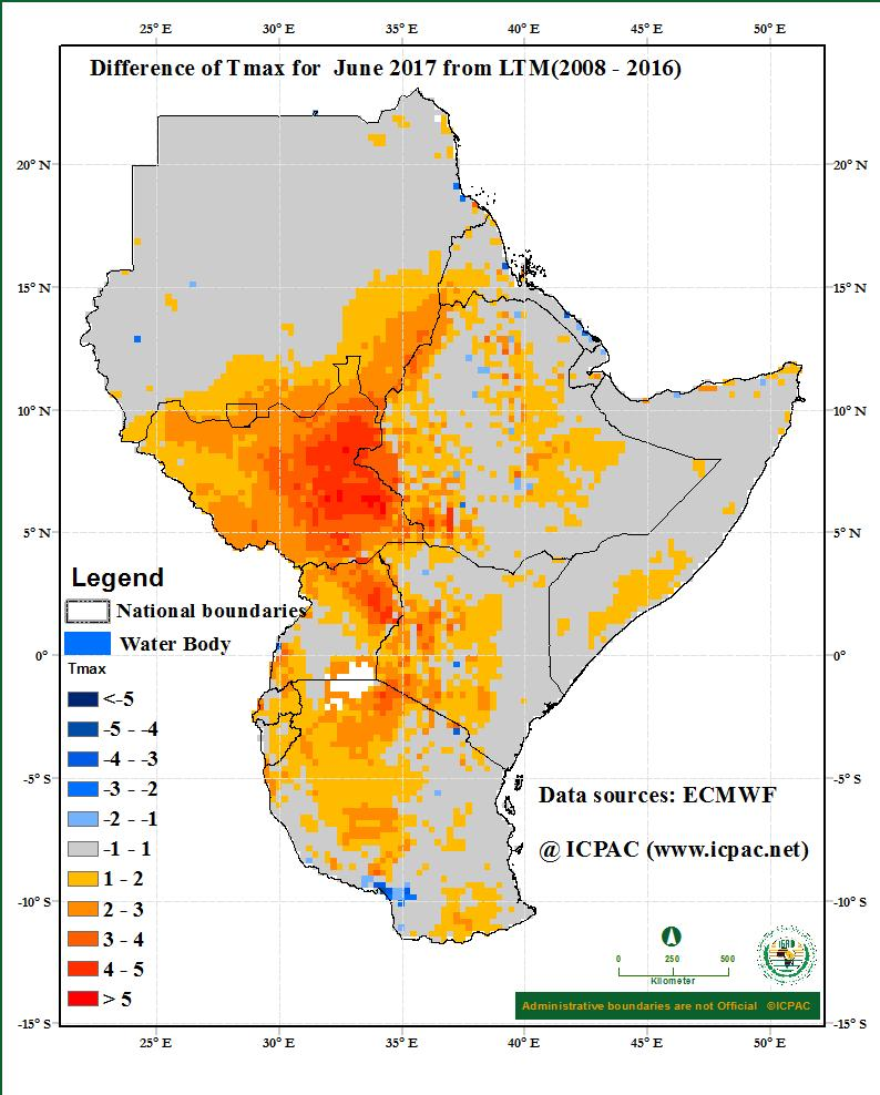 Much of the GHA region recorded near the average minimum temperature conditions in the month of May 2017, except for areas covering much of north and southeast of Sudan, western parts of South Sudan,