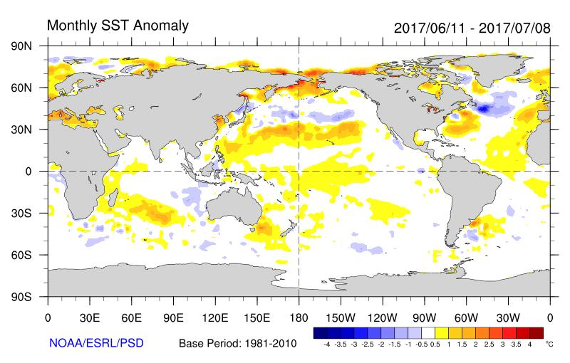 IOD July 2017 Figure 5: Sea Surface Temperature anomalies for the period 11 June to 08 July 2017 (Courtesy of NOAA/ESRL/PSD) 0.8 2017 IOD AND ANALOGUE YEARS 0.6 0.4 0.