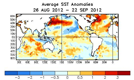 Global SST Departures ( o C) During the last four weeks, equatorial SSTs were above average across much