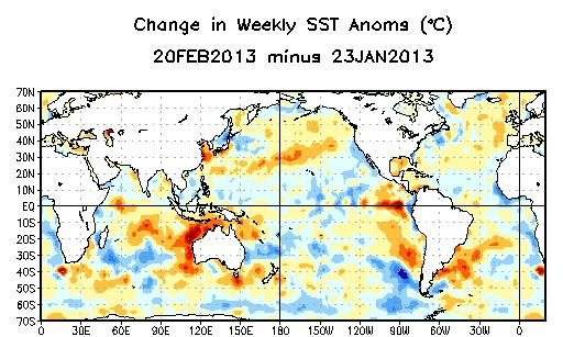 Weekly SST Departures ( o C) for the Last Four Weeks During the last