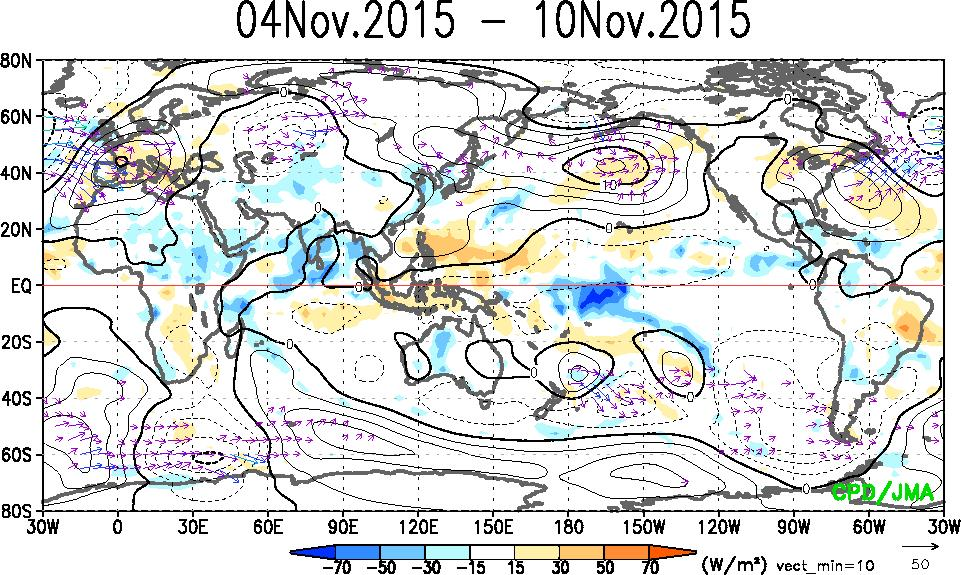 OLR & Stream Function & Wave Activity Flux (Anomaly) 200-hPa 850-hPa Stream Function Contours show stream function anomalies.