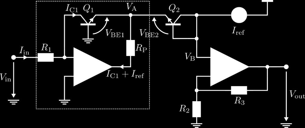 stage is a non-inverting amplifier with gain + RR 3 : RR 2 VV out = VV B + RR 3 = VV RR BE2 + VV A + RR 3 = VV 2 RR T ln II ref ln VV in + RR 3 2 II S RR