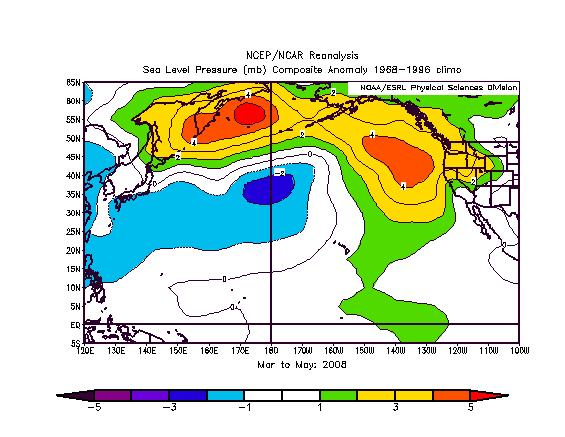 Figure 3a SST anomalies for March-May 2008.