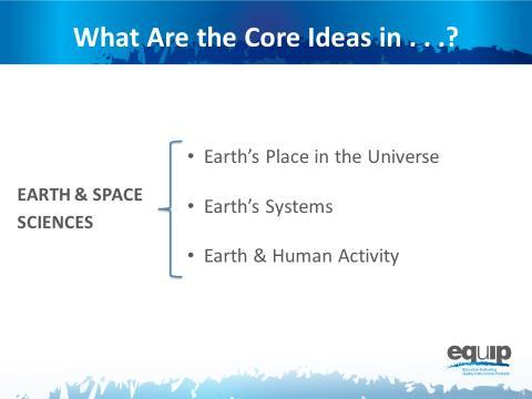 Slide 16 Talking Pints The earth sciences include three cre ideas: Earth s place in the universe;
