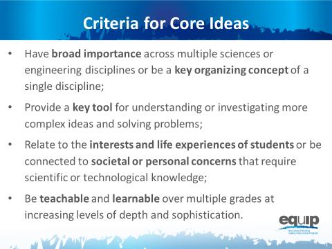 Nte t facilitatr: Remind participants that the cre ideas fr the different science disciplines are listed n the handut fr this mdule. They may wish t refer t this handut fr this task.