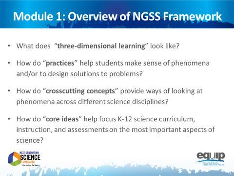Intrductin t Mdule 1 Slide 4 Talking Pints The NGSS are nt just new; they represent majr shifts in hw we expect students t demnstrate their understanding f science.
