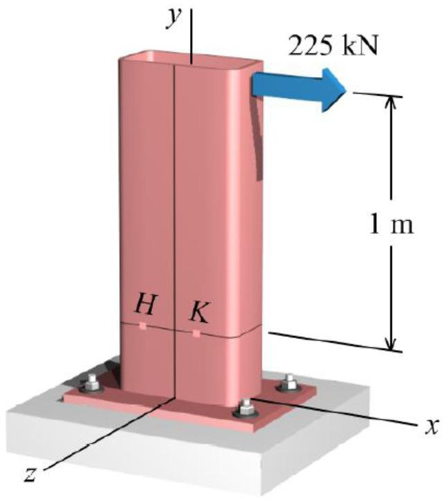 (19) Example 11: A hollow structural steel flexural member is subjected to the load shown. The yield strength of the steel is σy = 320 MPa.