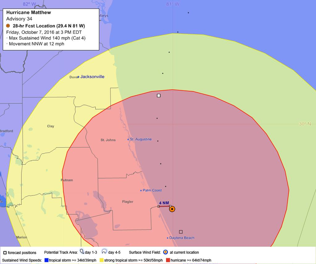 Flagler Beach Possibly in the Eye Friday Afternoon 110-125 mph Winds with Gusts 140 mph Heed the advice