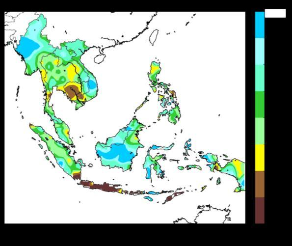 For the southern ASEAN region, dry weather conditions were experienced over parts of southern Sumatra and Java.