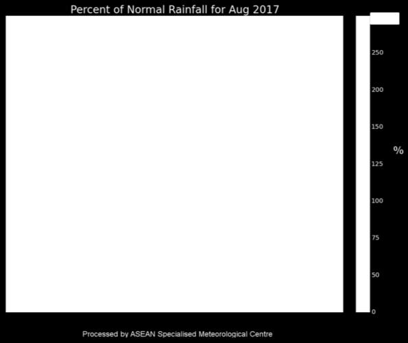 (Source: JAXA Global Satellite Mapping of Precipitation) Figure 2: Percent of Normal Rainfall for August 2017.
