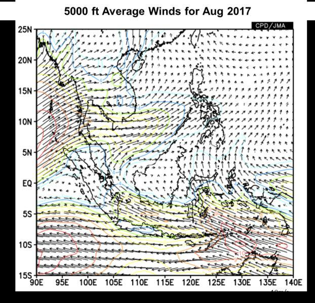 Figure 4: 5000 ft average winds (left) and anomaly (right) for August 2017. (Source: JMA) 1.5 In August 2017, the equatorial Pacific Ocean s sea-surface temperature (SST) over the Nino3.
