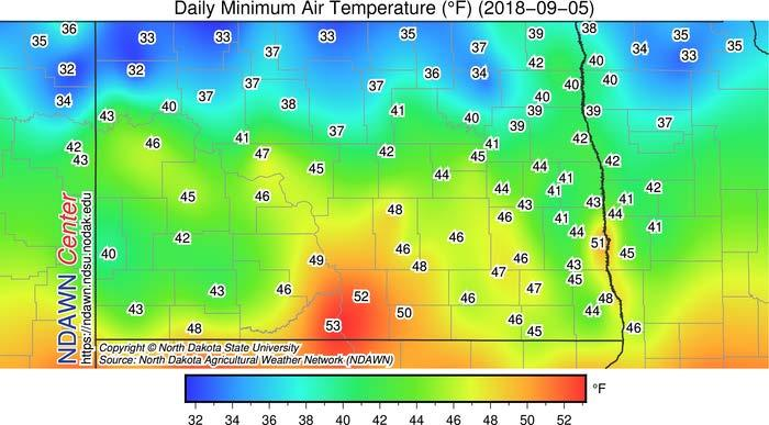 Early Frost in North Dakota We has some widespread frost in northern counties on Sep 5. Recently, low land areas did receive a damaging frost. We haven t seen a lot of frost damage in other areas.
