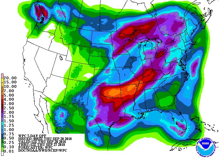 7 Day QPF valid from September 20-27, 2018
