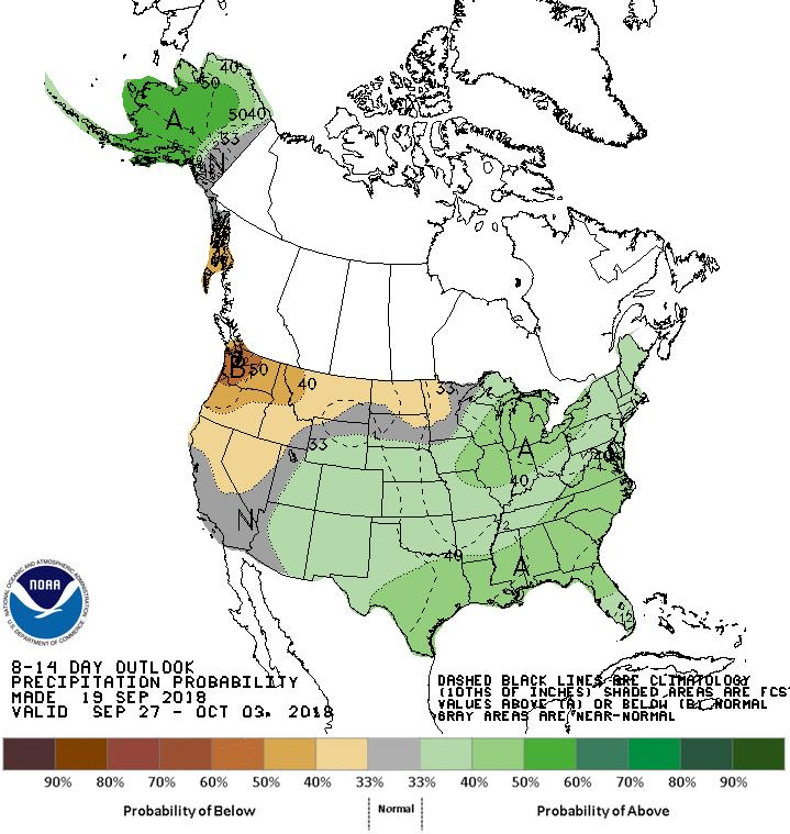 8-14 day outlook for September 27-October 3, 2018