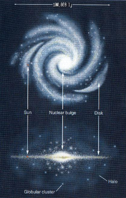 Spiral galaxies consist of a nuclear bulge in the center of a disk of stars orbiting it in a spiral shape.