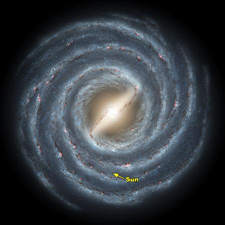 The older stars of the Milky Way are near the center in the nuclear bulge and the halo.
