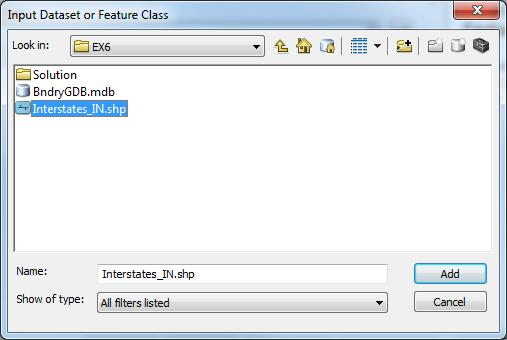 EX6 folder and choose the data source named Interstates_IN.shp.