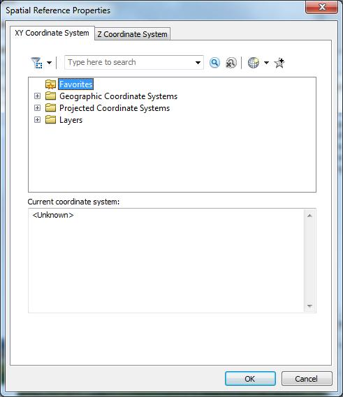 You may select a coordinate system from a predefined list of the major coordinate system options. This included geographic coordinate systems as well as projected coordinate systems.