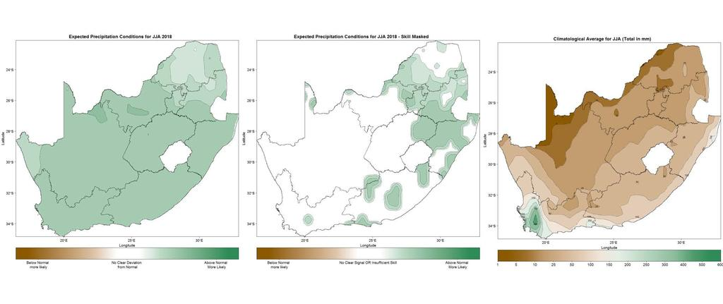 Figure 4: June-July-August (JJA) 2018 seasonal precipitation prediction without skill taken into account (left), as well as