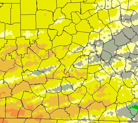 11 inches below normal; Bowling Green 2.74 inches, 1.20 inches below normal; Frankfort 2.61 inches, 0.68 inches below normal.