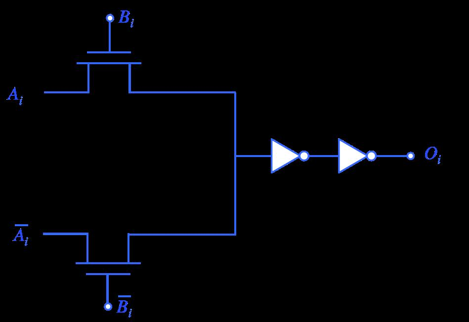 (c) Design a single gate that takes in two inputs and has one output at the transistor level that you could use to perform the match condition.