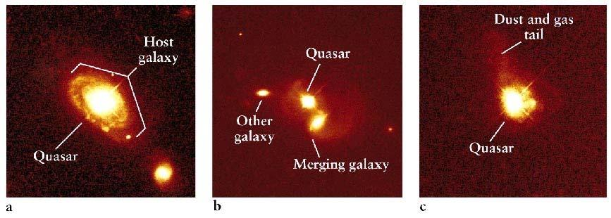 Quasars are the ultraluminous centers of distant galaxies. Quasars are often observed to be at the center of distant galaxies.