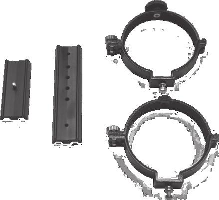 "¼""-20 Dovetail adapter Dovetail mounting bar Tube rings Figure 5: Orion sells a variety of optional mounting bars and tube rings that will couple your telescope to the VersaGo II mount."